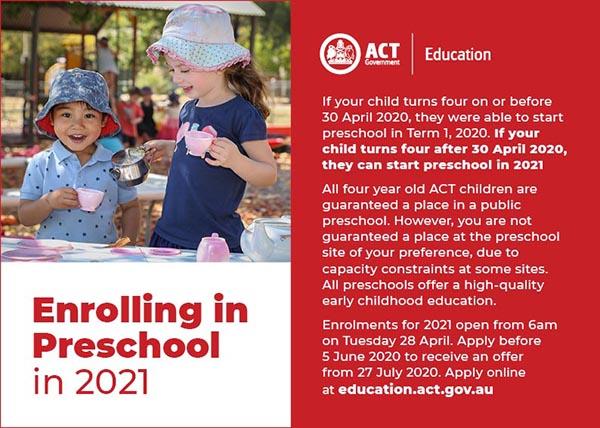 2021 Preschool enrolments